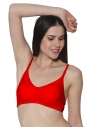 Prestitia red hosiery bra with transparent strap