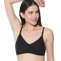 Prestitia black hosiery bra with transparent strap